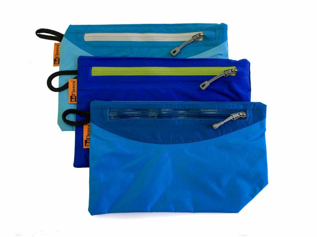 Refleece Pocket Pouch in blue, made from up-cycled jackets